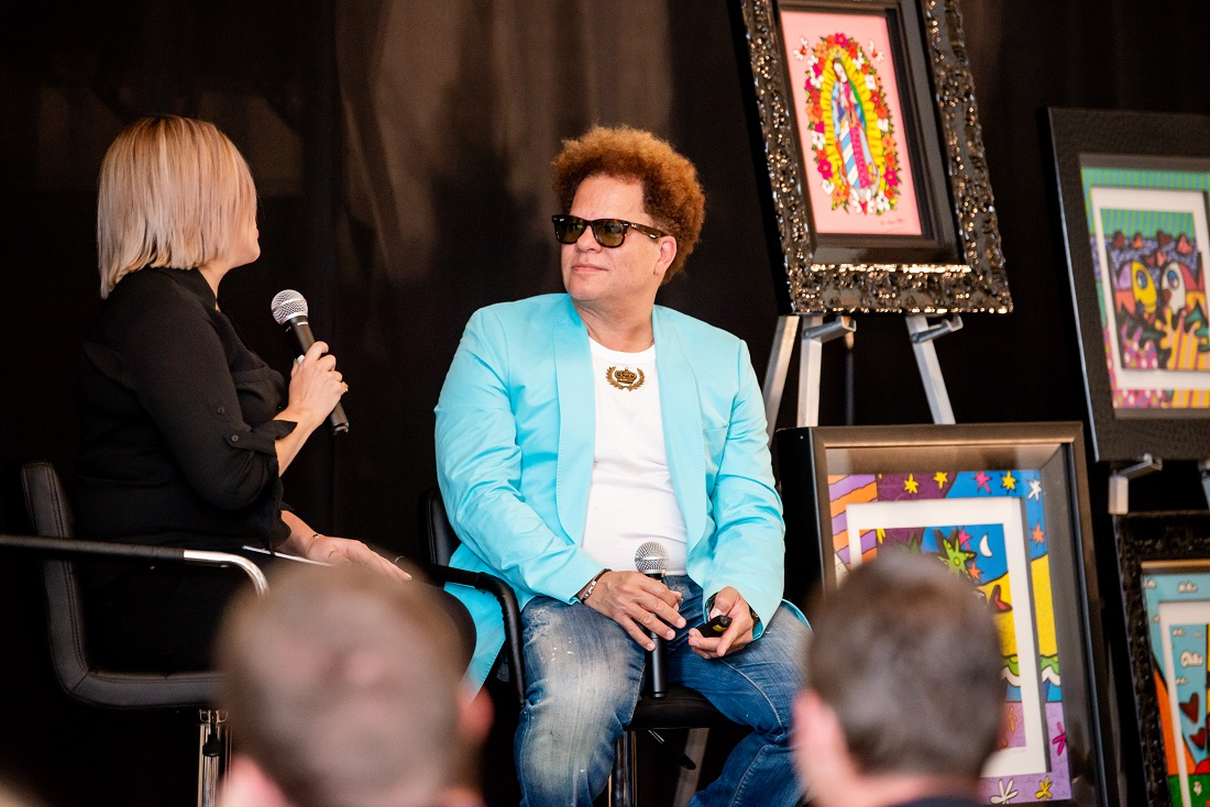 Internationally famous artists like Romero Britto often attend Park West training sessions to talk to classes about their artwork.